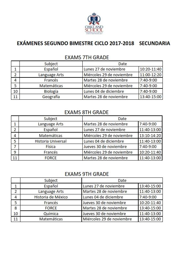 calendario exaÌmenes SEGUNDO BIMESTRE SECUNDARIA_001