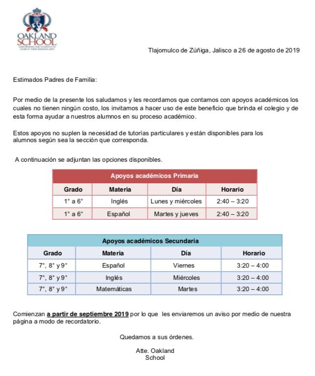 Apoyos academicos oakland school guadalajara el mejor colegio en tlajomulco