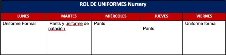 uniformes nursery